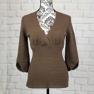 Dkny sz m stretch knit 3/4 sleeve sweater